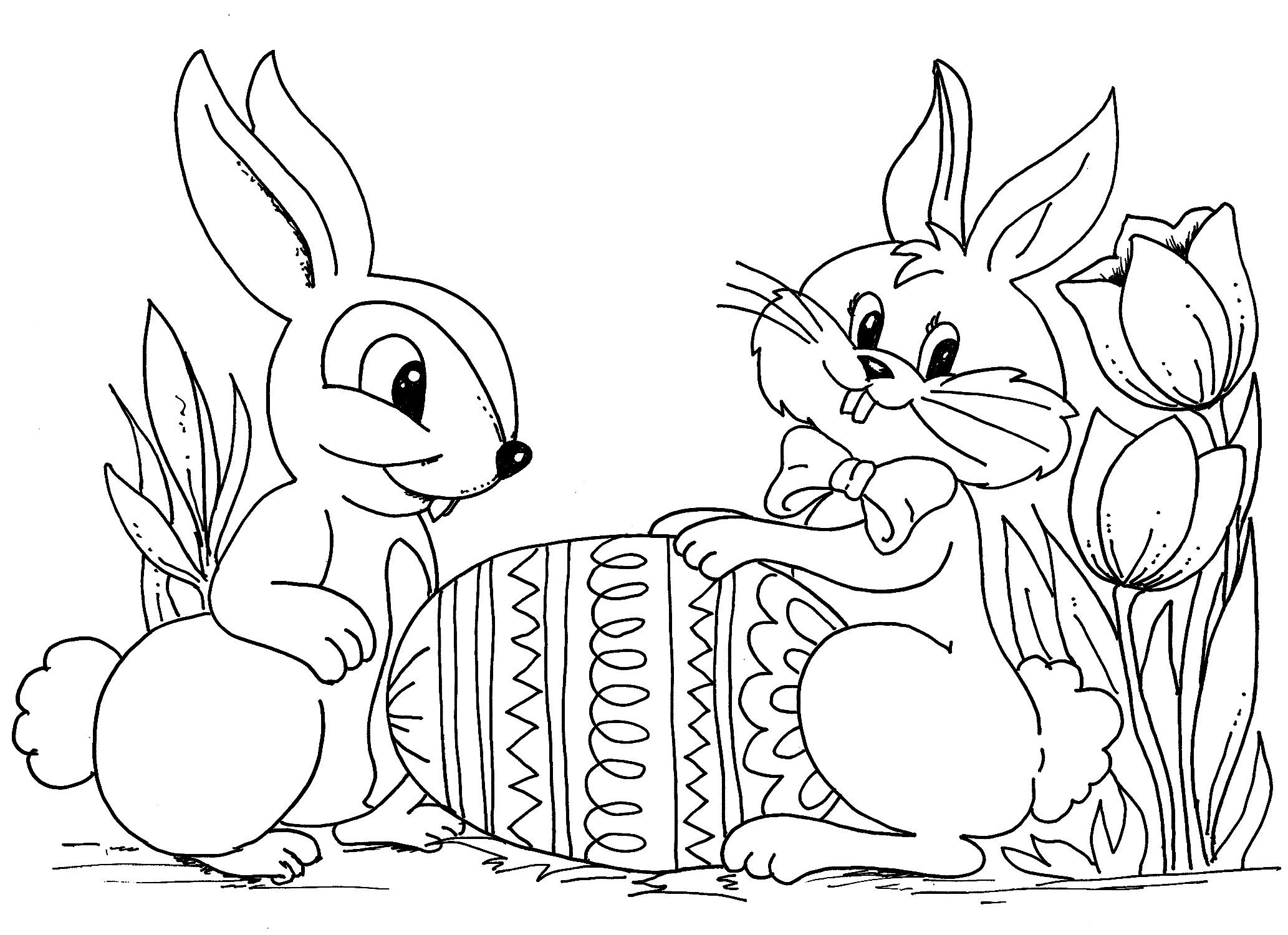Happy Easter Coloring Pages 2018 | Easter Egg, Easter Bunny, Jesus ...