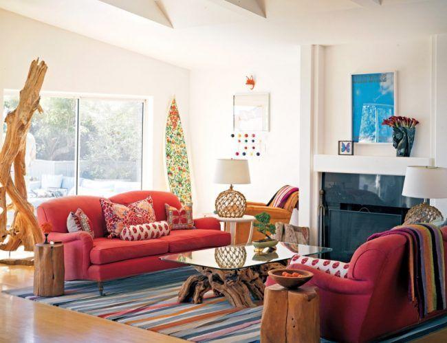 Hippie Chic   Wohnen Wohnzimmer Kamin Couch Sessel Rot