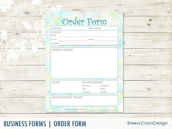 Fancy Order Form Template For Craft Show, Sales Book Printable