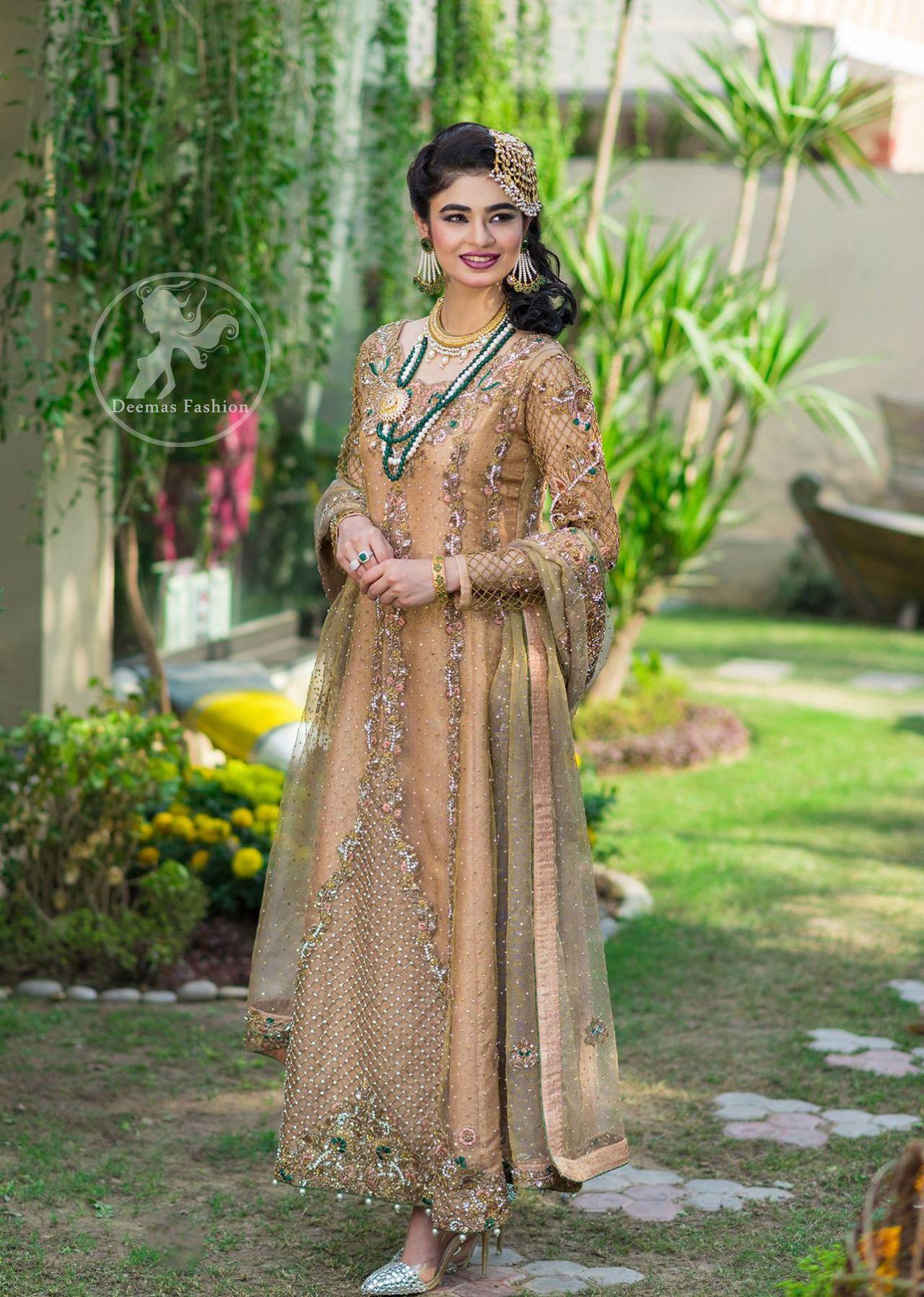 0c8f47b3b20 Latest Pakistani Designer Dress 2017 - Peach Party Wear Maxi