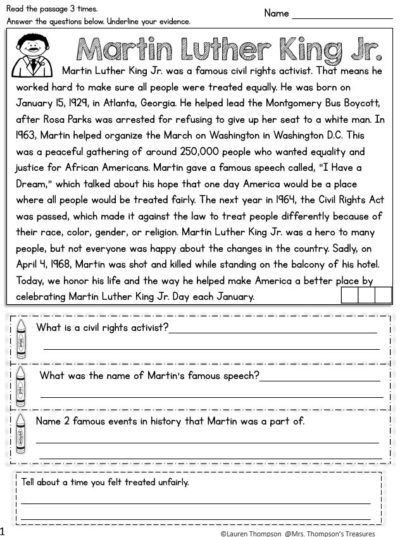 Free Martin Luther King Jr. Close Reading - Mrs. Thompson's Treasures Martin  Luther King Reading, Martin Luther King Jr Free, Martin Luther King Jr  Activities
