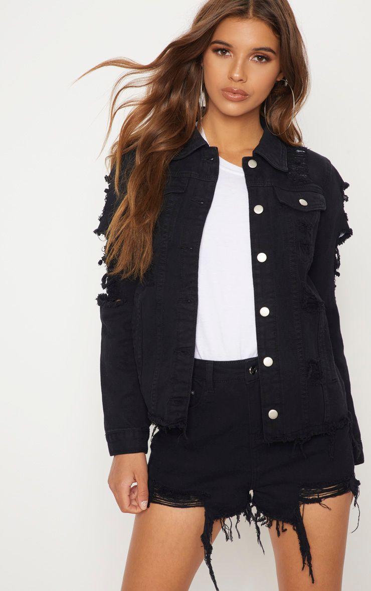 Abegaila Black Distress Oversized Denim Jacket Fashion Pinterest