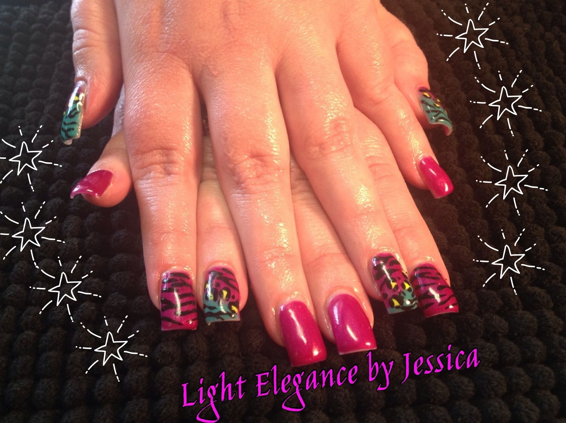 Light Elegance Gel nails. Nail art zebra stripes and cheetah print ...
