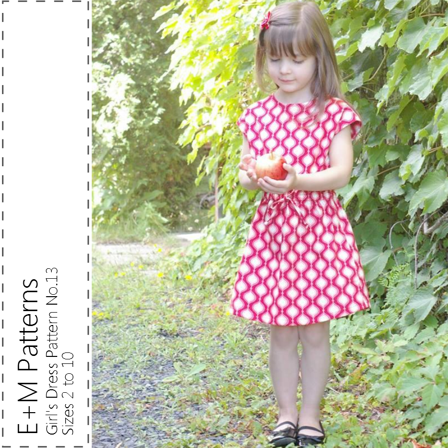 This classic and simple and oh-so-pretty dress features cap sleeves, a  waist gathered with elastic, and faux ties either at the centre front or at  the sides.  The dress stops just above the knee - prefect to wear with 3/4 length  leggings (free ones here!).  Sizes included are: Child sizes 2 to 10. See size chart below.  MORE PHOTOS