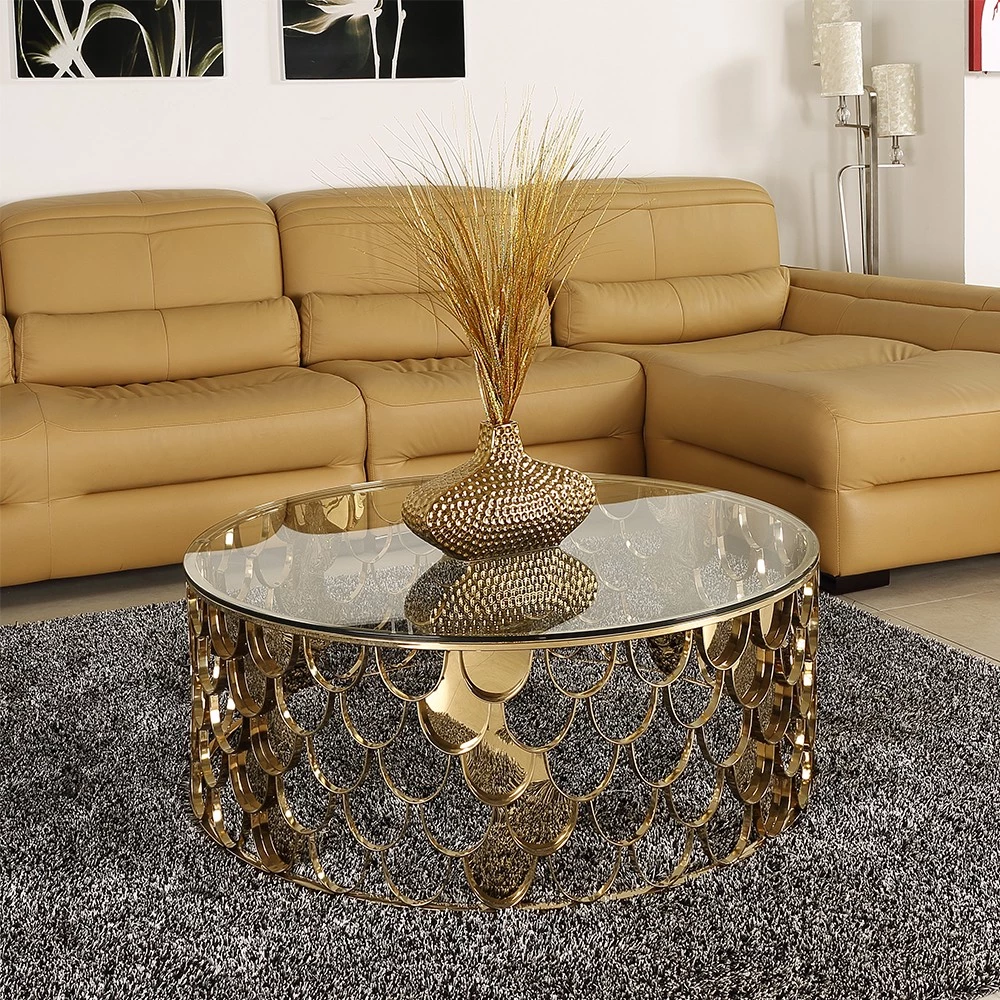 Round Glass Coffee Table With Stainless Steel Rose Gold Fish Scale Base Buy Metal Coffee Table Fis Metal Furniture Design Custom Metal Furniture Coffee Table [ 1000 x 1000 Pixel ]