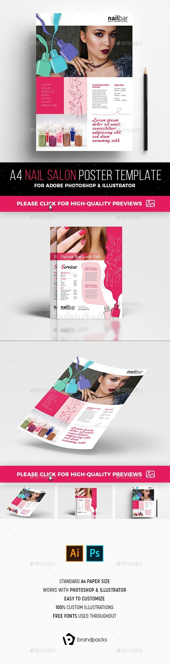 a4 nail salon poster advertisement template commerce flyers