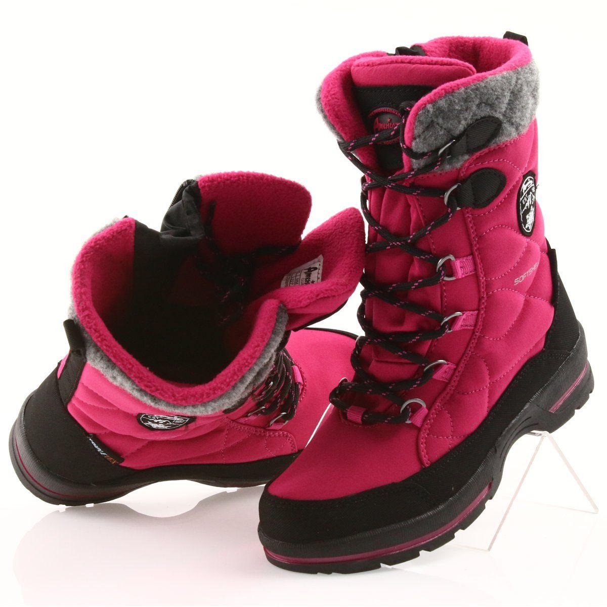 American Club Sniegowce Z Membrana American 801sb Rozowe Czarne Szare Boots Shoes Winter Boot