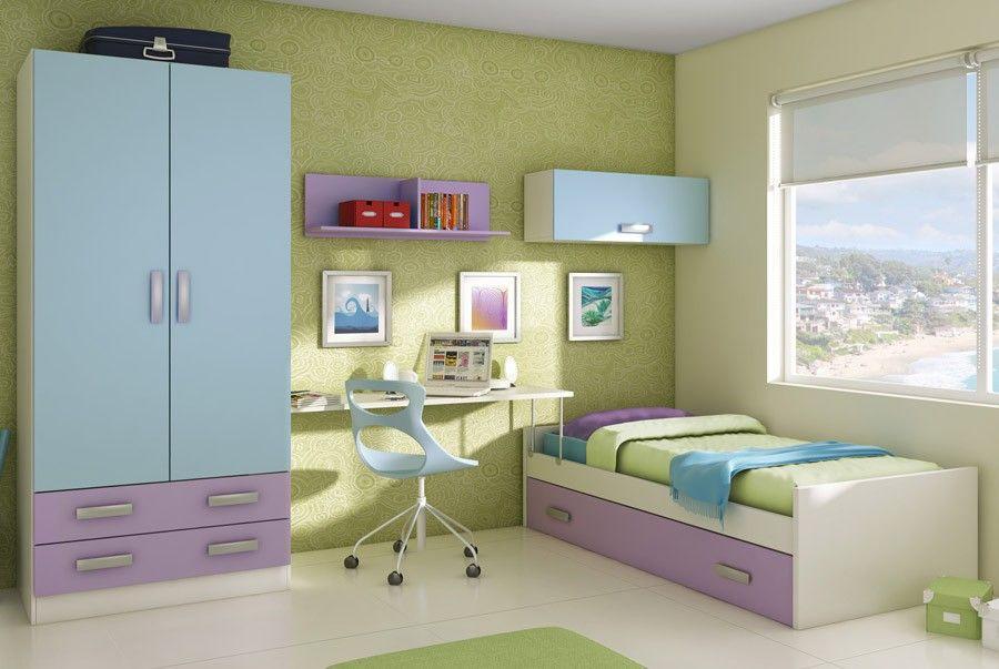 Chambre Enfant Complete Bleu Mauve Et Blanc Moderne Ariel