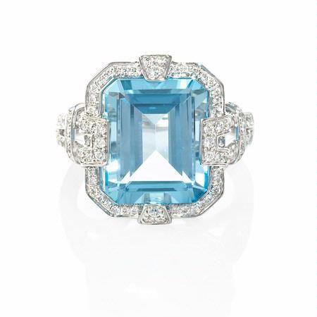 5f5192ec367b0 50ct Diamond and Blue Topaz 18k White Gold Ring | Riveting Rings ...
