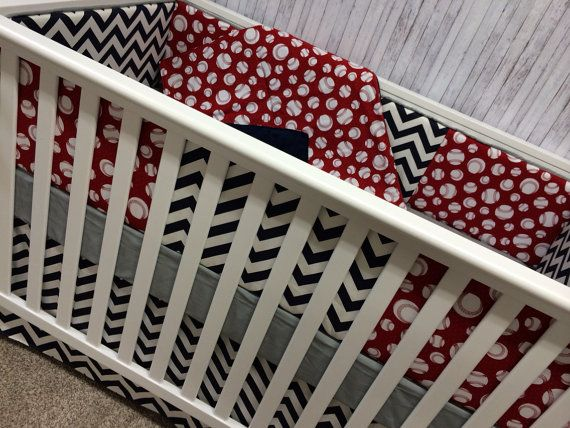 Crib Bedding Baby Bedding Cot Set Crib set- Bumper upgrade/sheet/adjustable skirt- Sports Red White Baseballs and Navy Chevron on Etsy, $275.00