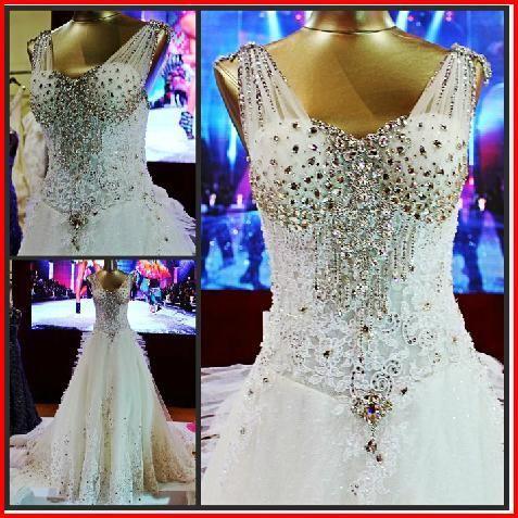 24308df3cedf YZ New Arrival Gorgeous Luxurious Swarovski Crystals Bridal Wedding Dress  VBBV