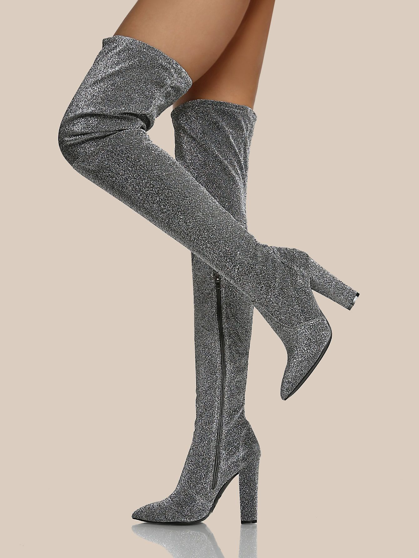 4aa87699ff6e Shop Glitter Fabric Point Toe Thigh High Boots SILVER online. SheIn offers  Glitter Fabric Point Toe Thigh High Boots SILVER   more to fit your  fashionable ...