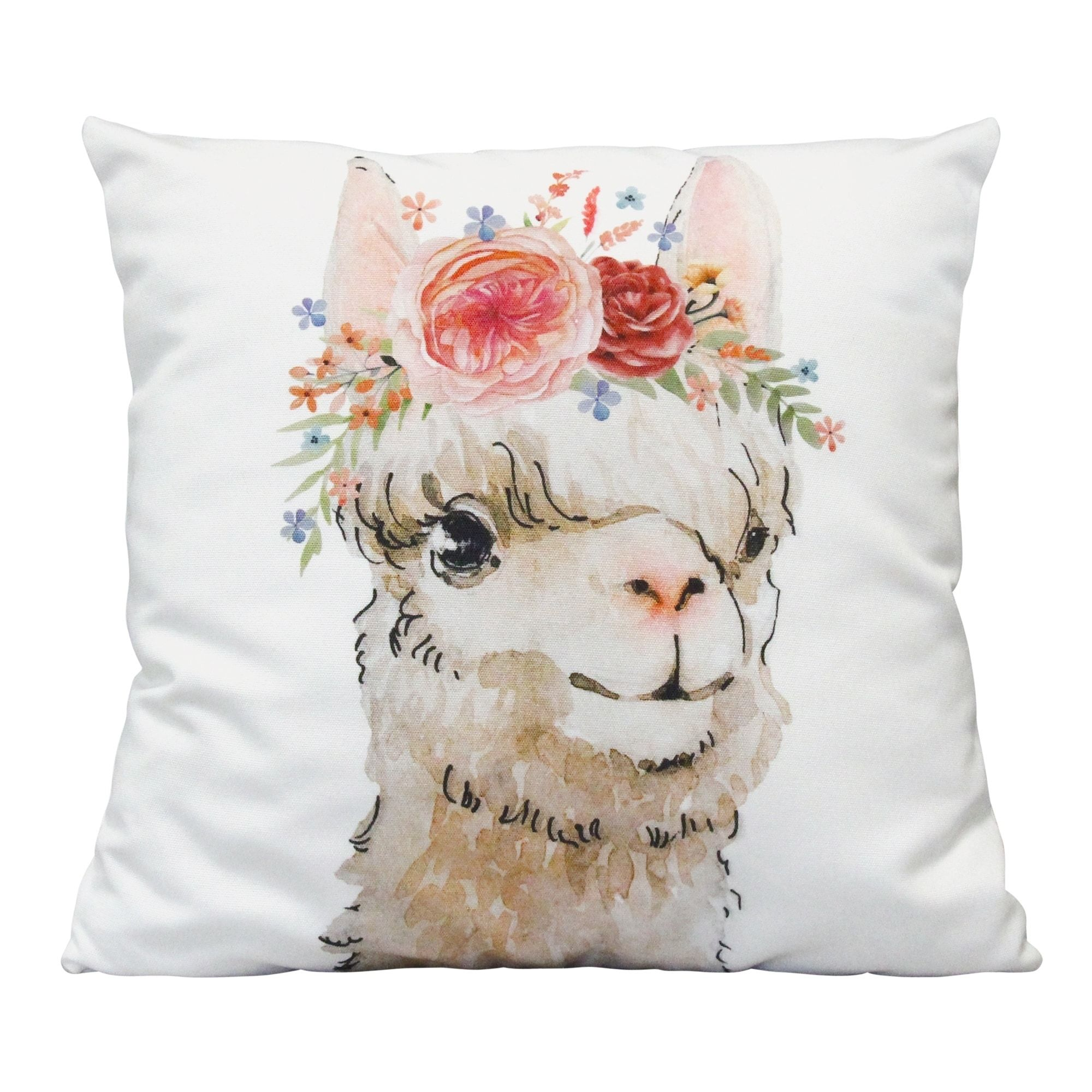 "Stratton Home Decor Boho Flower Llama 18"" Square Pillow, Multicolor(Polyester, Animal)"