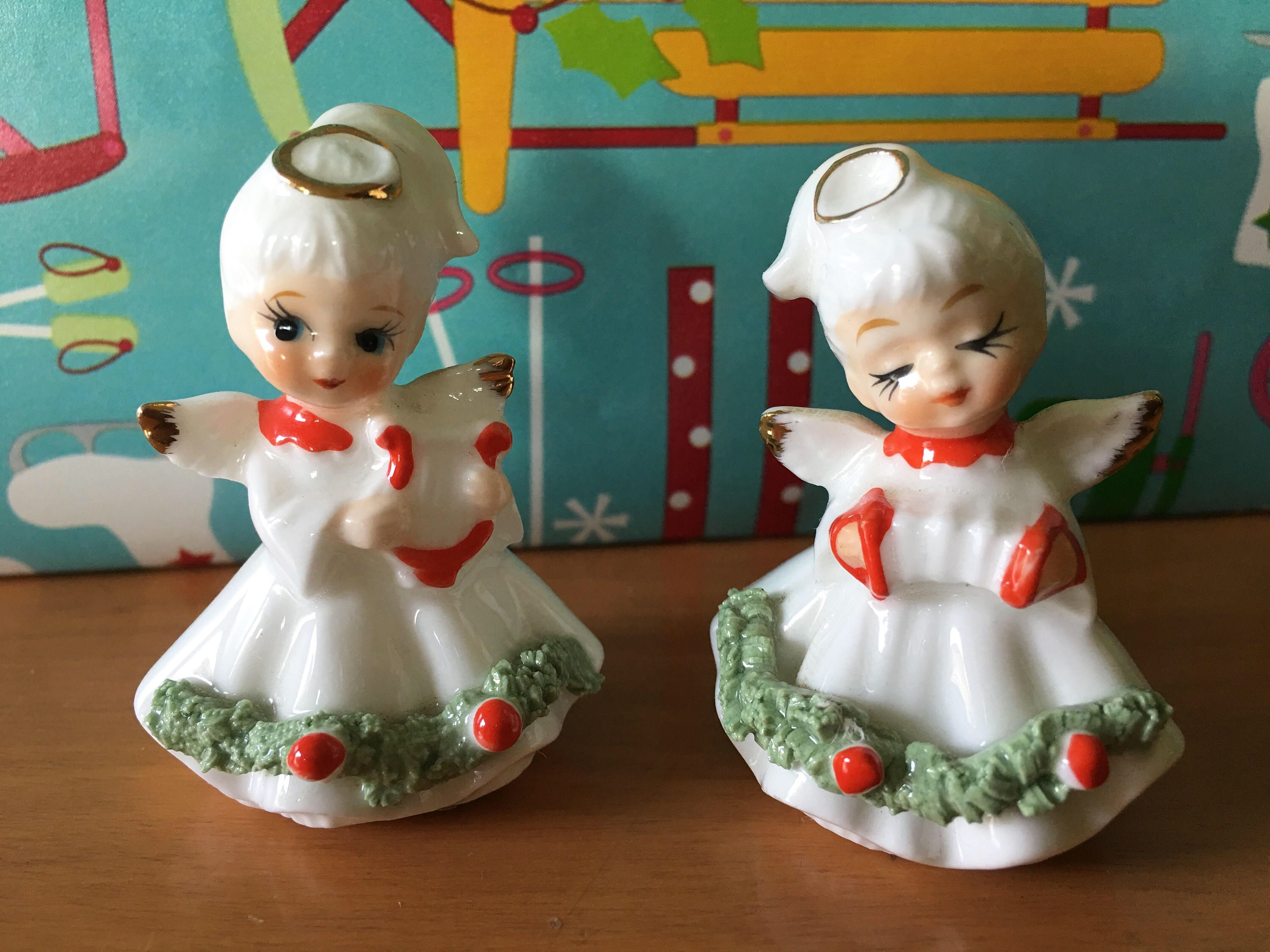 napco miniature christmas angel figurines set of 2 by charmingclassics on etsy https - Miniature Christmas Figurines