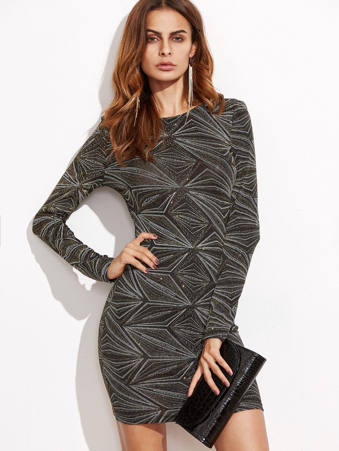 75af4a3a473 Black+Geo+Pattern+Sparkle+Bodycon+Dress+23.00