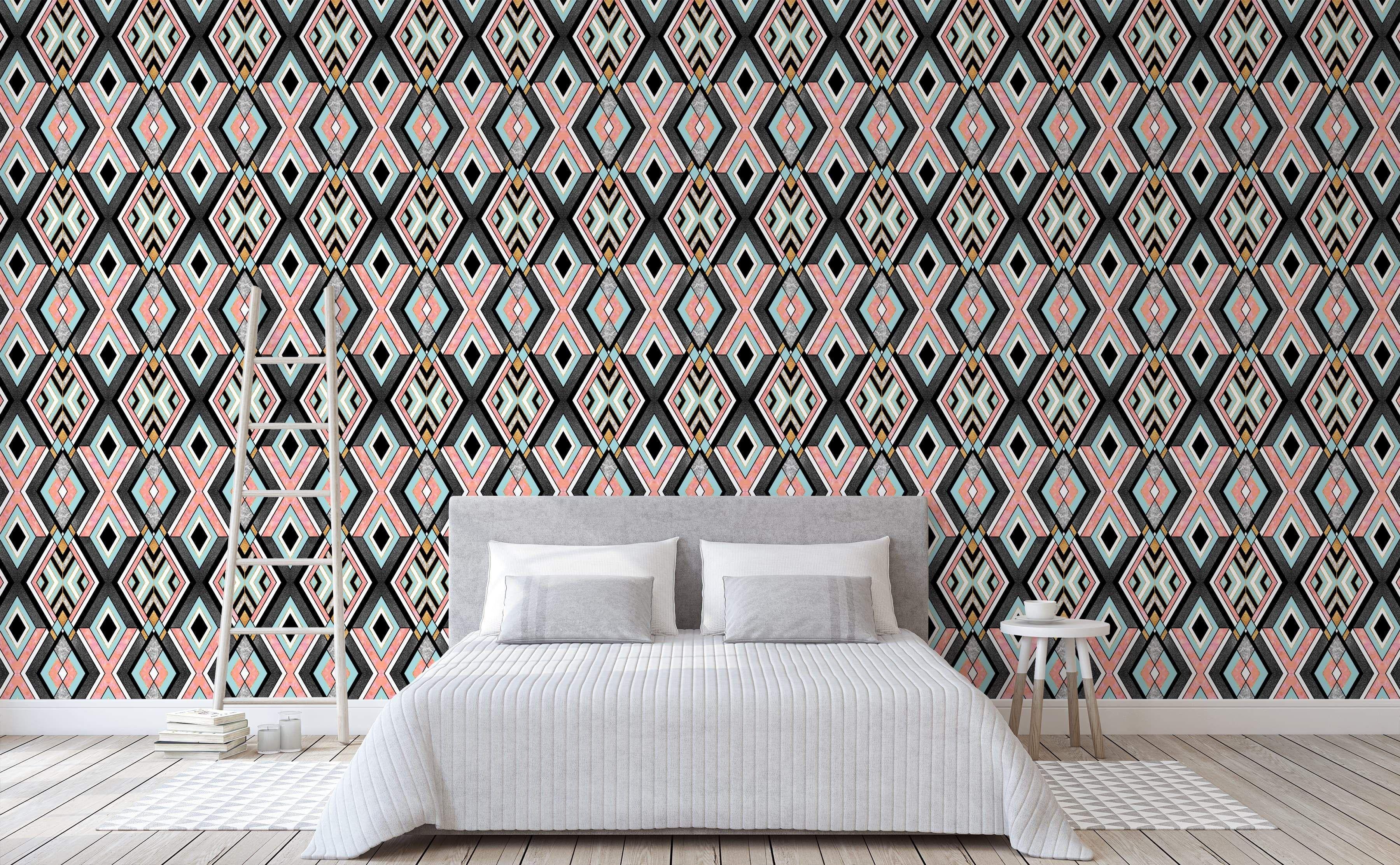 Geo 1 Wall Wallpaper Art Deco Wallpaper Wallpaper