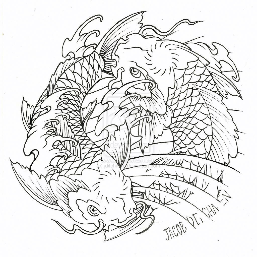 Collection Of 25 Kids Coloring Pages Of A Koi Fish Tattoo Design Japanese Koi Fish Tattoo Fish Coloring Page Koi Fish Drawing