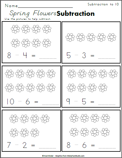 Spring Flowers Subtraction To 10 Made By Teachers Kindergarten Math Worksheets Spring Math Worksheets Kindergarten Worksheets