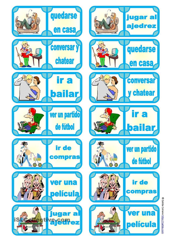 Fichas de dominó: ¿Qué haces en tu tiempo libre? (7 expresiones ...
