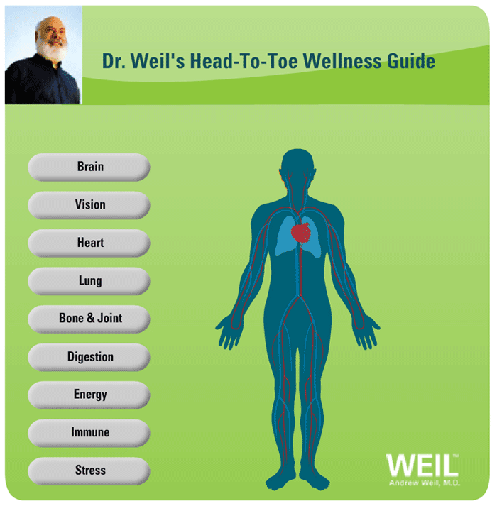 Health And Wellness For All Different Parts Of Your Body Including Heart Lungs Brain Etc And Gives A Nutrition Chart Vitamins And Dr Weil Head To Toe Wellness