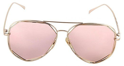 fac34026c57 Amazon.com  WODISON Polarized Reflective Womens Aviator Sunglasses Metal  Frame Mirrored Eyeglasses Rose Gold Lens  Clothing