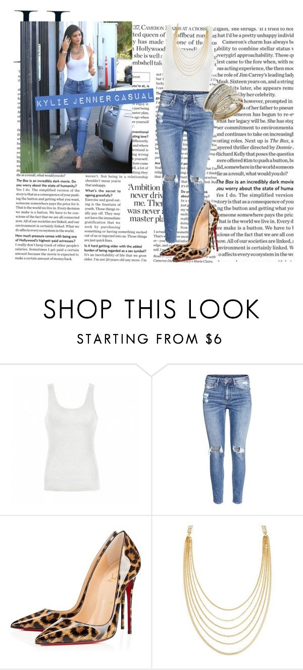 """Casual"" by fashionnnnforlife ❤ liked on Polyvore featuring 7 For All Mankind, Ally Fashion, H&M, Christian Louboutin, White House Black Market and Miss Selfridge"