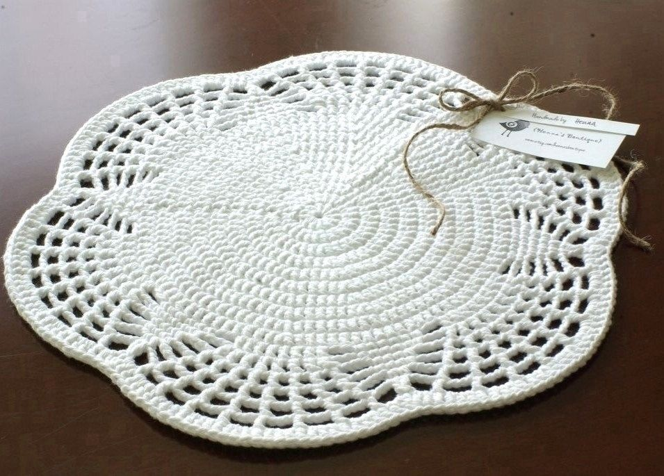Doily Crochet EMILY Placemat Set of 4 White by hennasboutique ...