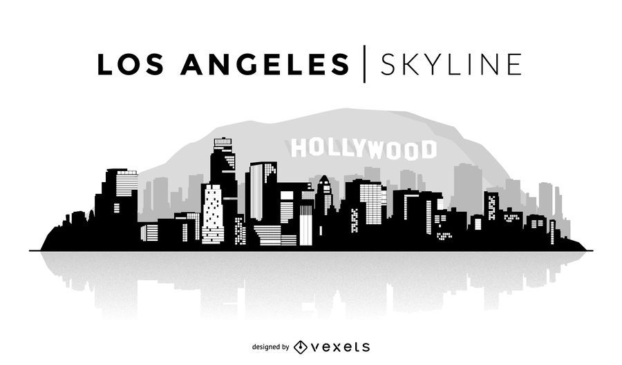 United States Los Angeles Skyline Design In Black You Can See The Most Important Buildings And Los Angeles Skyline Skyline Silhouette City Skyline Silhouette