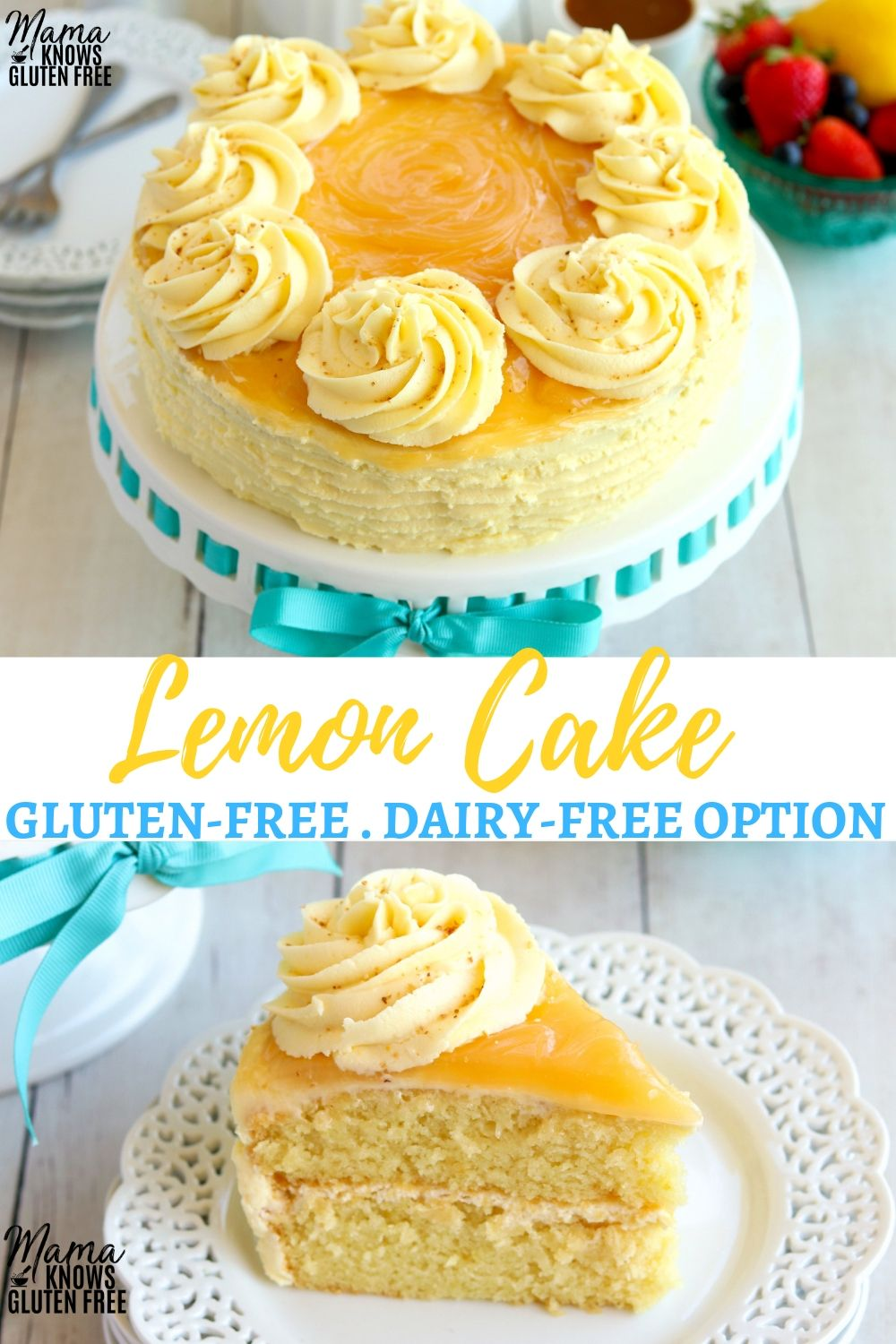 This Gluten Free Lemon Cake Is Moist Light And Fluffy Full Of Lemon Flavor And Topped With A Cr Gluten Free Lemon Cake Dairy Free Cake Recipe Dairy Free Cake