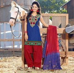c46ee30aed3  Blue and red  colour cotton ready made  salwar  suits (Size - Medium    Large   XX-Large)