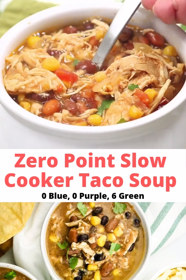 Zero Point Weight Watchers Taco Soup packed with chicken breast, beans, corn, tomatoes, and tons of taco flavor. Cooked in the slow cooker or on the stove-top, this healthy dish will feed a crowd and couldn't be easier to make. 0 Blue, 0 Purple, 6 Green Smartpoints #ww #wwgreen #wwblue #wwpurple #wwsmartpoints #wwrecipes #weightwatchers
