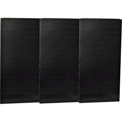 wall control industrial metal pegboard black three 16in on wall control id=82251
