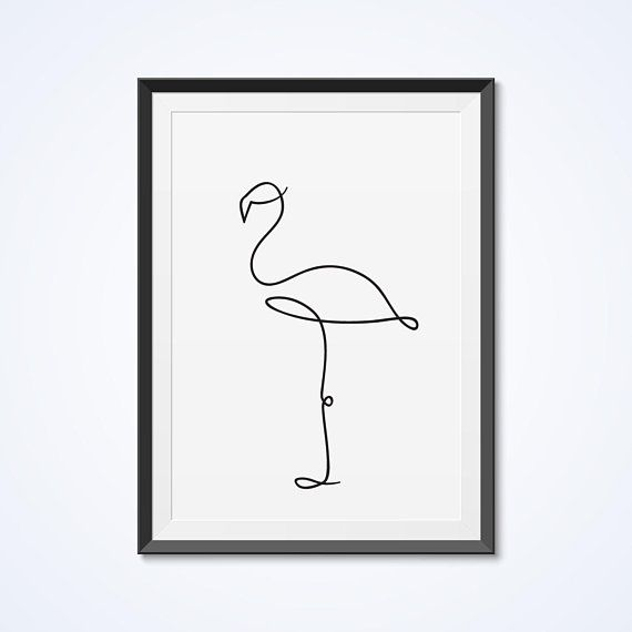 Flamingo wall decor. Minimalistic art. Single line drawing. Black and white wall art. Abstract animal print. Digital #artanddrawing