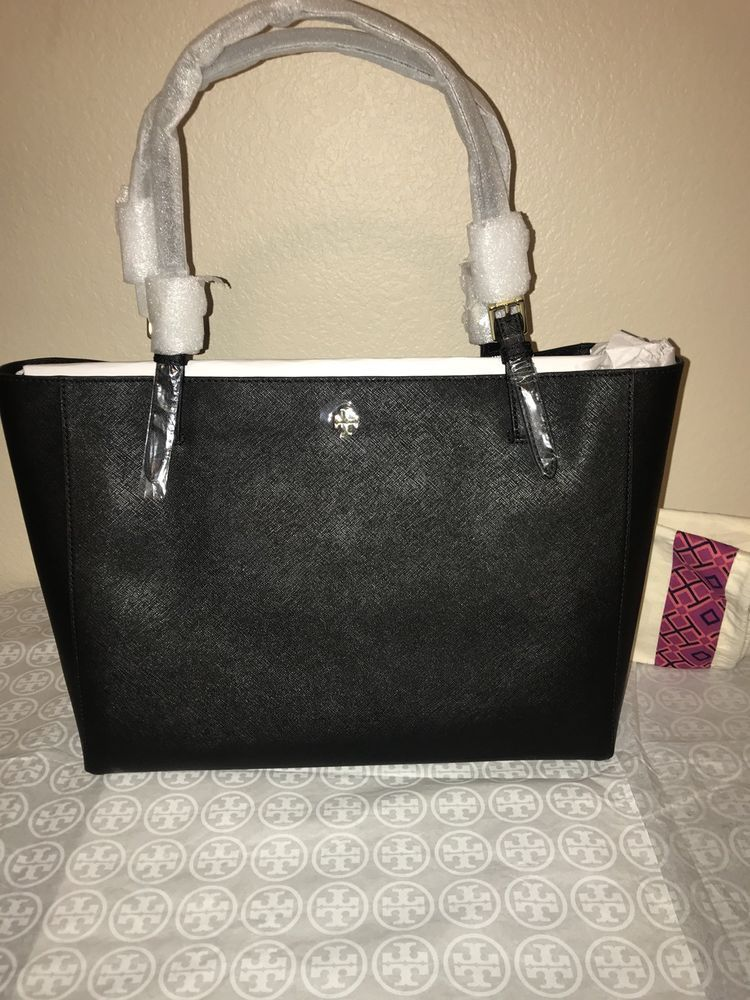 834ce5acaa27 NWT Tory Burch Emerson Buckle Tote (Black) Saffiano Leather ...