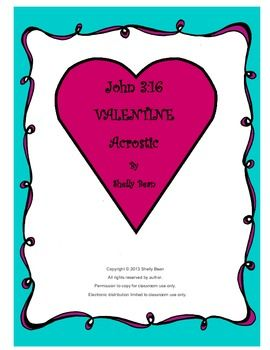 Valentine John 3:16 Acrostic Craft