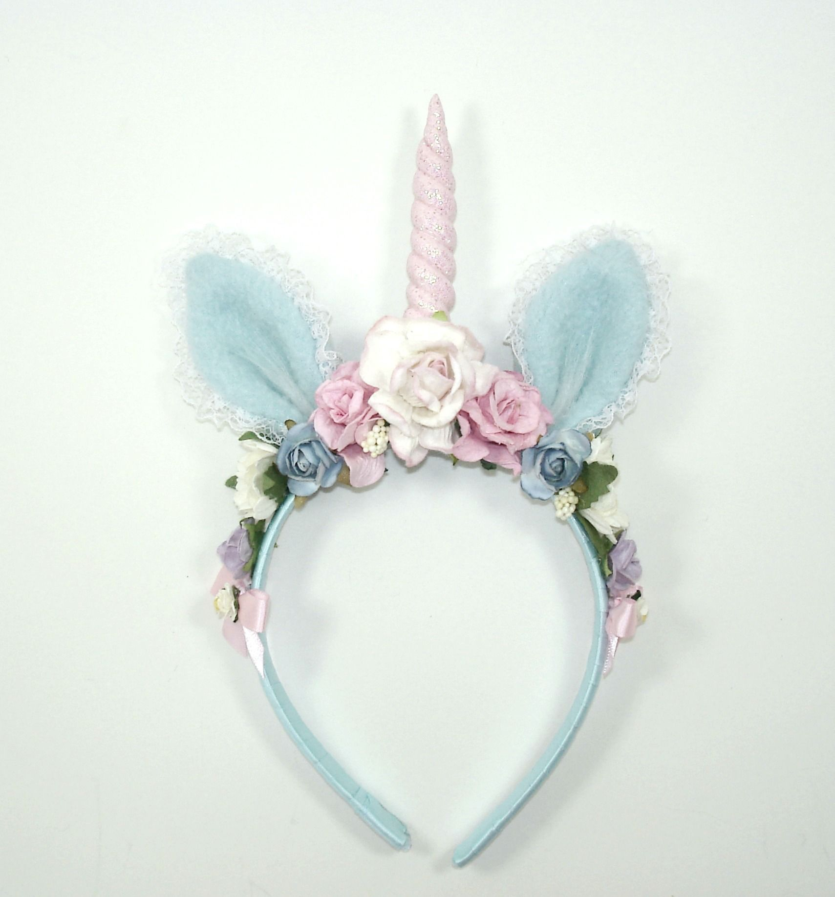 Unicorn headband-Pastel-Lolita-Lolita Headband-Harajuku-Hime-Gift For  Her-Lt Blue-Halloween-Flower Headband-Horn-Unicorn ... 8b4fe0445ba