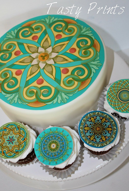 Mehndi Cake Toppers : Edible oriental mandalas cake top cupcake toppers