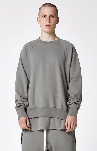 Fog Fear Of God Essentials Crew Neck Sweatshirt In Grey 100 Long Sleeve Tshirt Men Mens Tops Street Wear