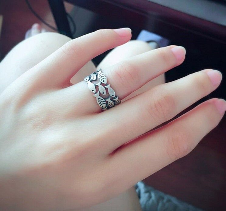 925 Sterling Silver Big Fish Ring for Women Vintage Ring Valentine Day Gift For Someone You Love.
