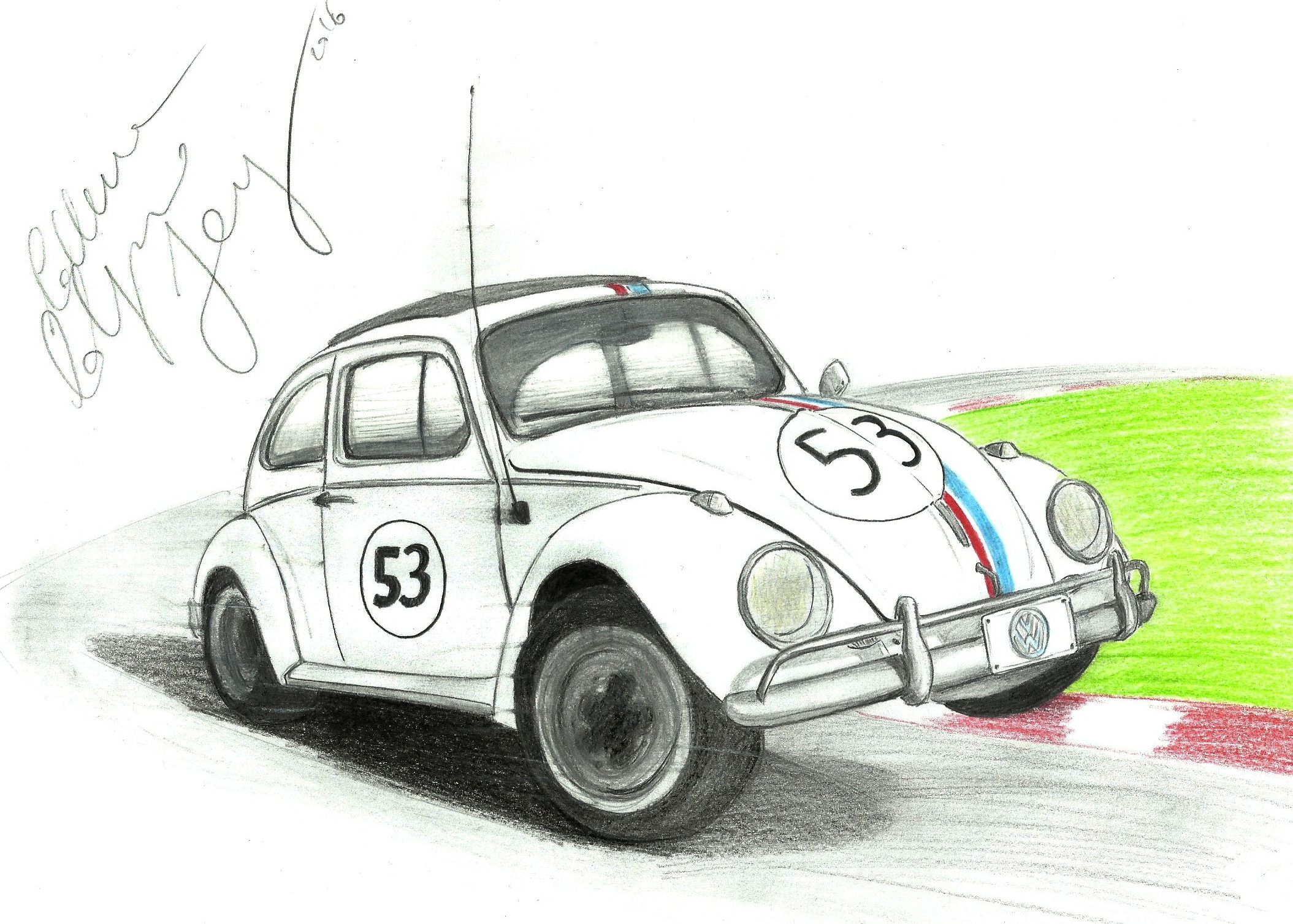 Sketchcar Volkswagen Typ1 Beetle Kafer Coccinelle Escarabajo Bug Fusca Vocho Oldcar Vintagecar Vw Drawing Disegnoamano 53 Herbie Maggi Vw Kafer