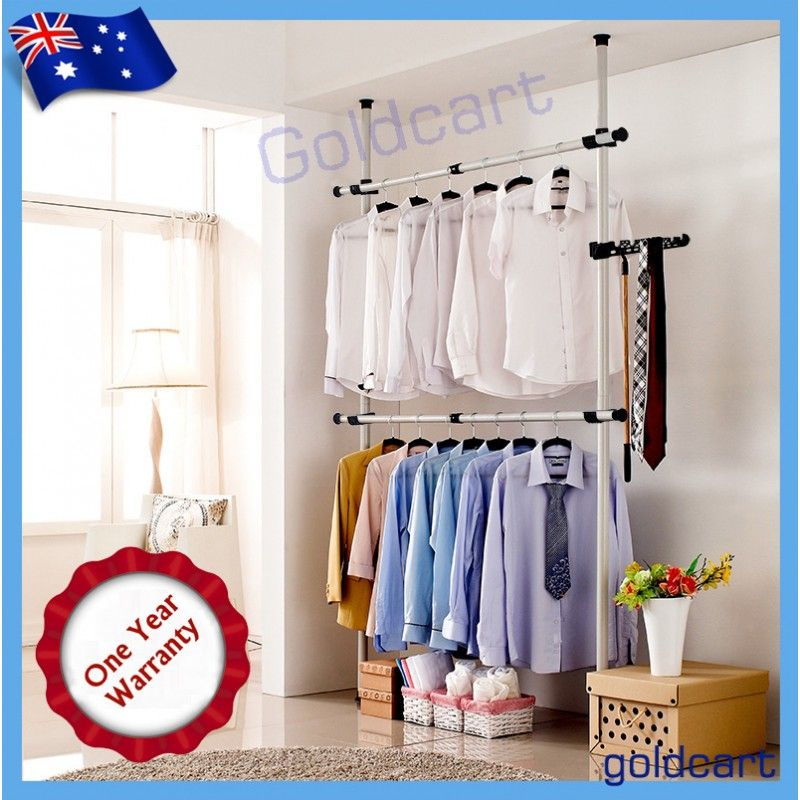 Flexi Garment Rack DIY Coat Hanger Clothes Wardrobe Double Pole Free Hook  Shelf
