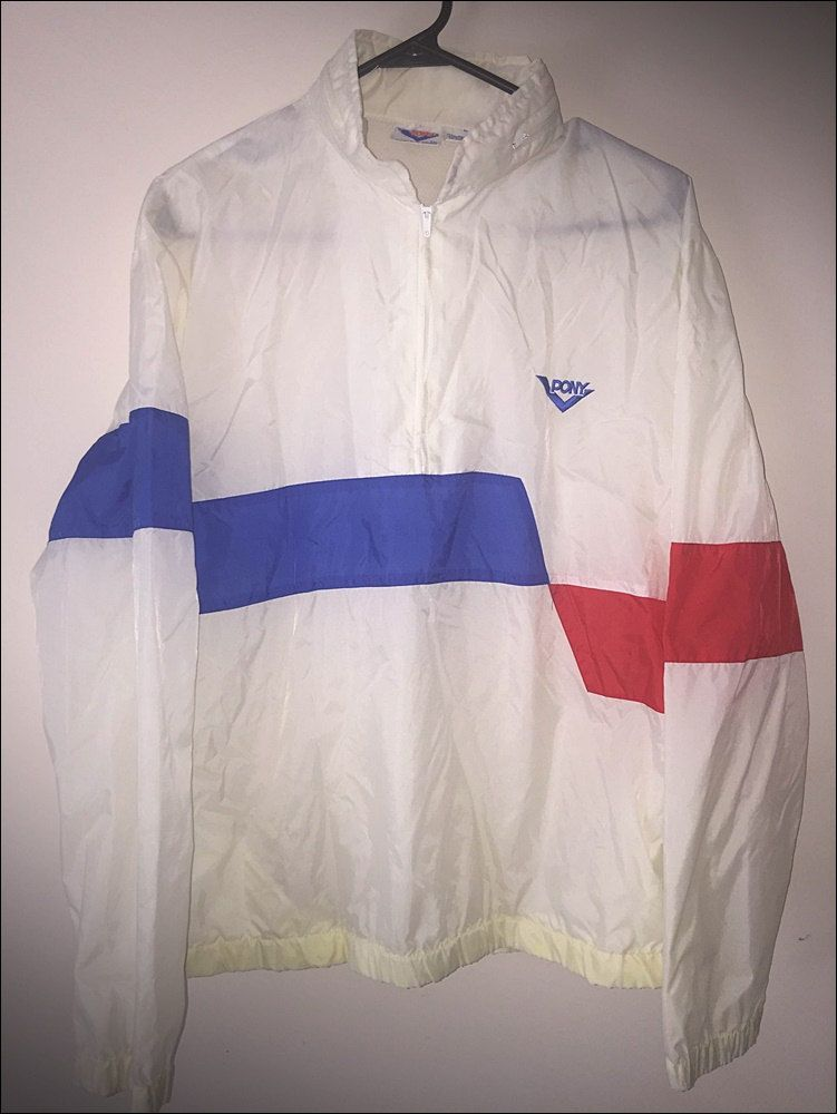 ede5a84acee5 Vintage 80 s PONY Red White Blue Nylon Windbreaker Jacket - Size Large by  JourneymanVintage on Etsy