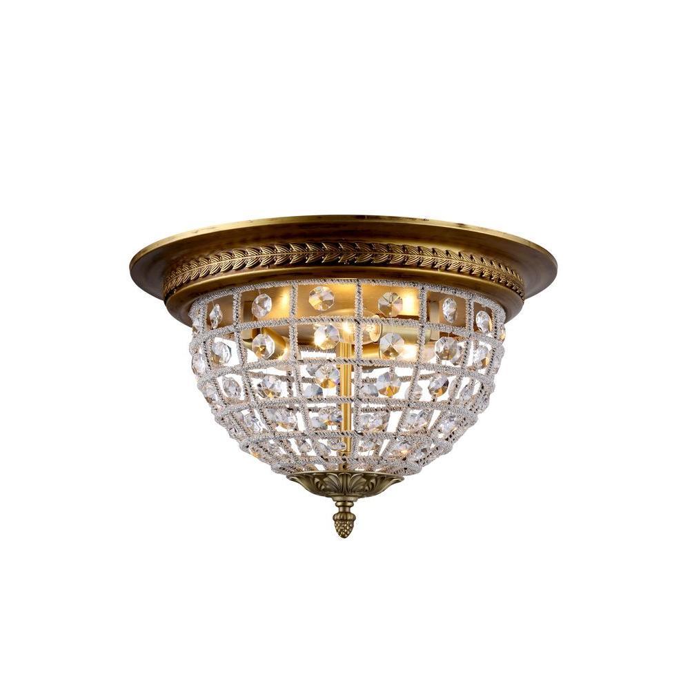 Elegant Lighting Olivia 3-Light French Gold Royal Cut Crystal Flushmount
