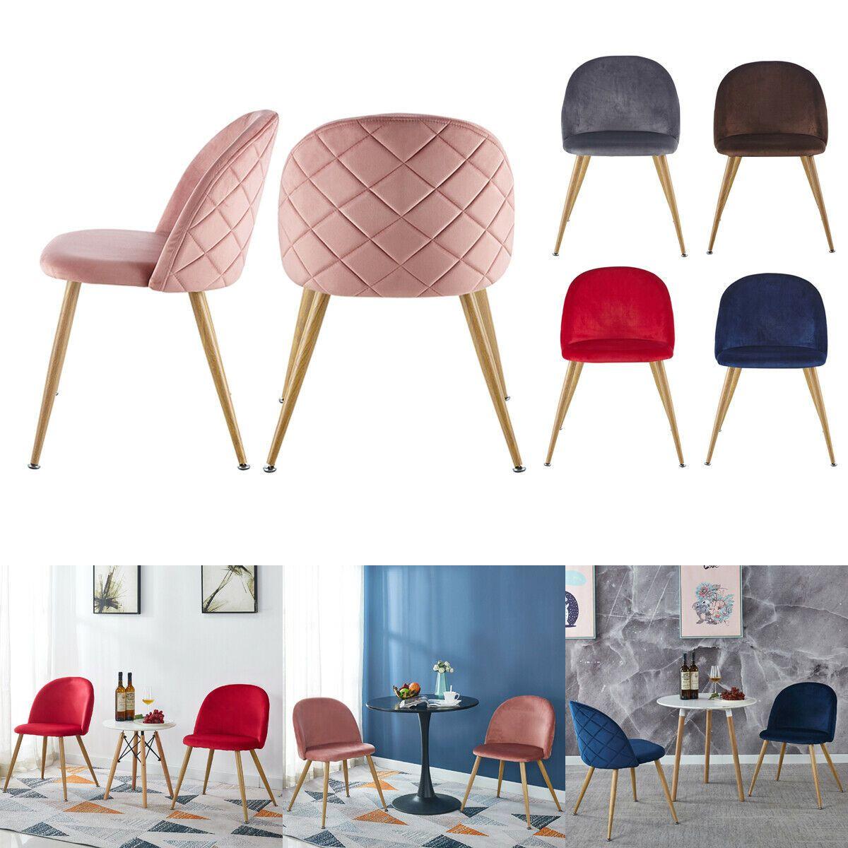 2pcs Modern Velvet Kitchen Chairs Wood Metal Legs Accent Dining