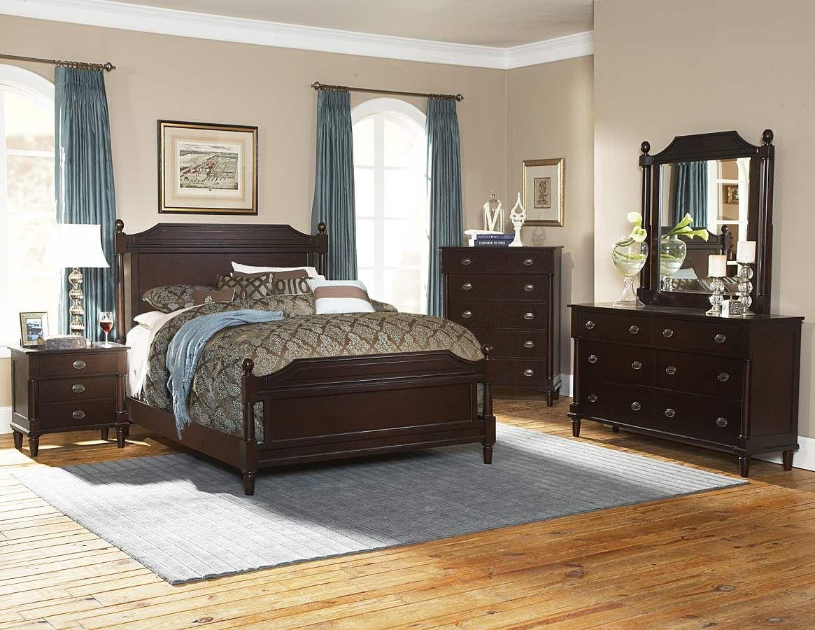 houghton cherry wood metal glass master bedroom set