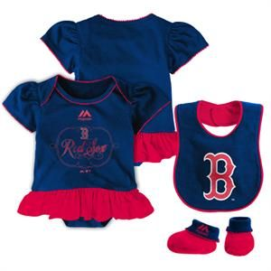 Bib and Booties Gift Set Boston Red Sox Baby Girl PINK Infant Bodysuit