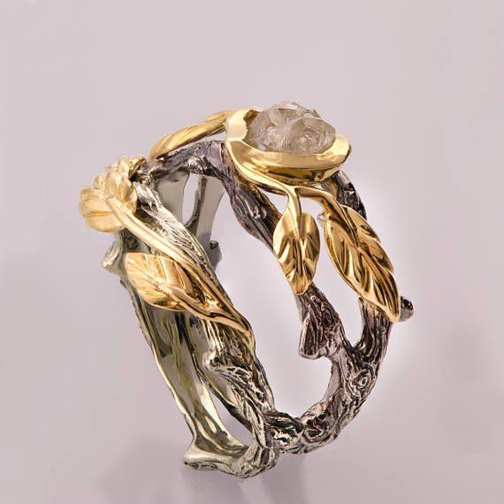 Twig and Leaf Bridal Set, Rough Diamond Wedding Set, Unique Engagement ring, rough diamond ring, raw diamond ring, uncut diamond, 8