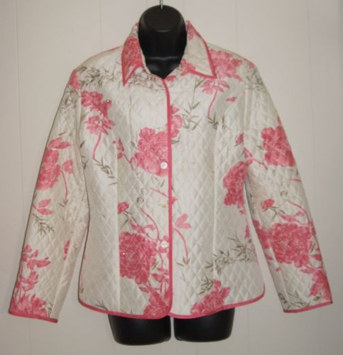Carole-Little-Womens-Size-M-Quilted-100-Silk-Floral-Jacket-Beaded-Ivory-Pink