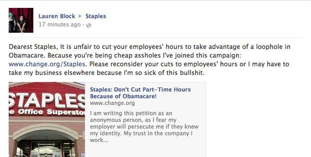Staples Accused Of Cutting Employee Hours Ahead Of Obamacare