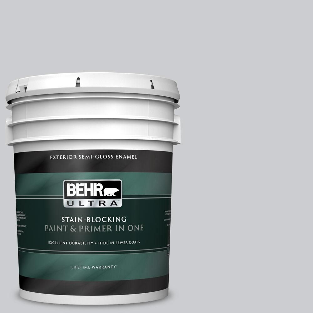 Behr Ultra 5 Gal 770e 2 Silver Screen Color Semi Gloss Enamel Exterior Paint And Primer In One 585005 Exterior Paint Interior Exterior Interior Paint